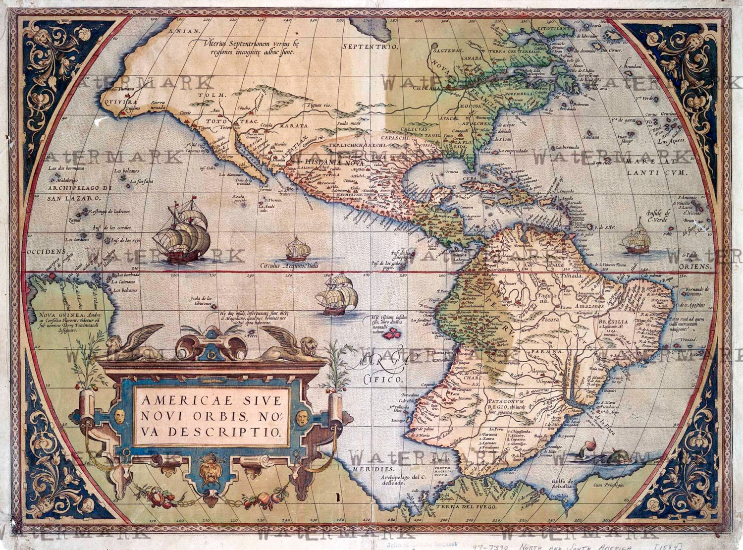 America world map 1573 download scan of an old original map zoom gumiabroncs Gallery