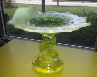 Vintage Early 1900s Northwood Canary Yellow Opalescent Vaseline Glass Petticoat Dolphin Card Reciever Dish RARE