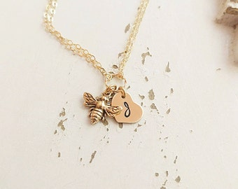 Honey Bee Bracelet, Gold Initial Charm Bracelet, Personalized Jewelry, Hand Stamped Jewelry, Gold Bee Bracelet, Will you BEE my bridesmaid?