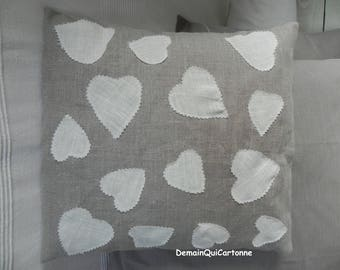 Linen & hearts appliqué pillow cover