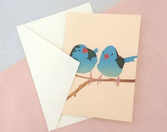 Cordon Bleu Bird Card | Bird Card | Bird Greetings Card | Bird Birthday Card | Anniversary Card | Bird Art | Bird Print | Wedding Card