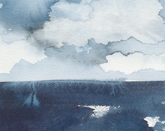 Obscured from View, Original Abstract Waterscape Painting, Watercolour, Blue