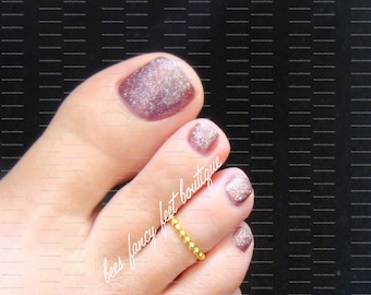 Gold Toe Ring, Gold Ring, Gold Beads, Gold Round Beads, Toe Ring, Ring, Stretch Bead Toe Ring
