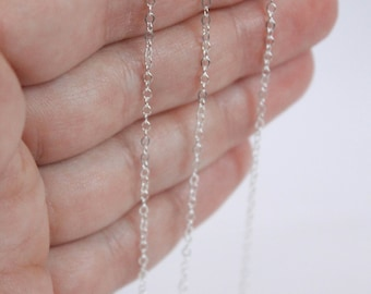 Sterling Silver Chain by the Foot - 1.5mm Flat Cable Chain - Thin Chain - Delicate Chain - Wholesale Chain - Custom Length / SS-CH006
