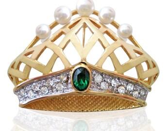 Vintage Emerald & Pearl Crown Brooch Set With Swarovski Crystals