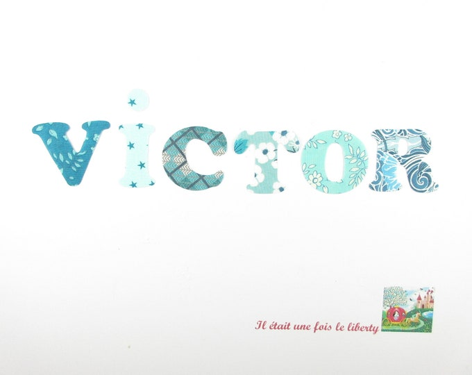 Applied seconds personalized name of 6 letters (VICTOR, e.g. proposed) Liberty Blue and turquoise.