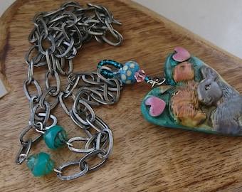 Bunny pendant - ceramic necklace chain rabbits green jewelry blue jewellery pink swarovski crystal heart glass spots teal orange grey silver