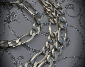 """Made In Italy Solid 100% Genuine Sterling Silver 5mm Figaro Chain 22"""""""