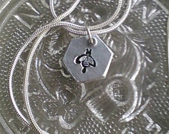 Hexagon Bee Charm Necklace - Hand Stamped Hexagon Charm Necklace - Manchester Bee -  Solidarity - In Memorial - Charity Fundraiser