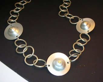 Beautiful Double Domed Sterling Silver Beads Silver Chain 21 Inches Long