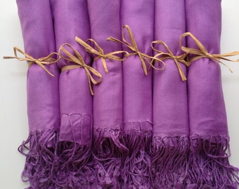 Lavender Shawls with Raffia Ribbon, Set of 6, Pashminas, Scarf, Shawl, Wedding Favor, Bridal Shower Gift, Bridesmaids Gift, Wrap