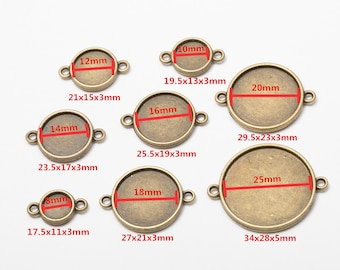 10pcs Antique Bronze Both Sides Tray Base, 8/10/12/14/16/18/20/25mm Cabochon Basetray, DIY Two Holes Jewelry Accessories, Accessory Material