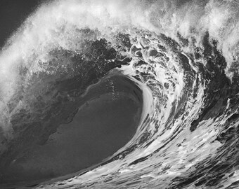 Black and White Print of a Huge Wave in Hawaii Surfing Photographs Picture Print on Canvas, Aluminum, or Photo Paper.