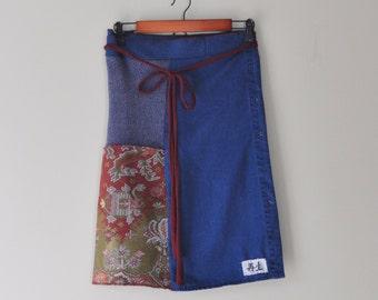 Upcycled Patchwork Sweater WrapSkirt in Indigo Blue/Kanji/Boho Wrap/Folk Art Fall Wrap