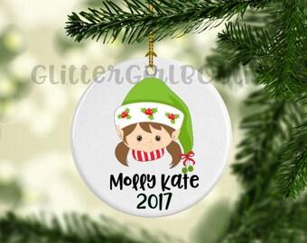 Elf Face Ornament, Custom Ornament, Personalized Ornament, Girl Elf Ornament, Porcelain Ornament, Elf Ornament | Ornament