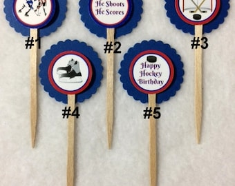 Set Of 12 Hockey Birthday Cupcake Toppers (Your Choice Of Any 12)
