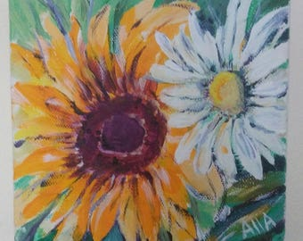 Small 6x6 acrylic painting on canvas of flowers (sunflower and daisy)