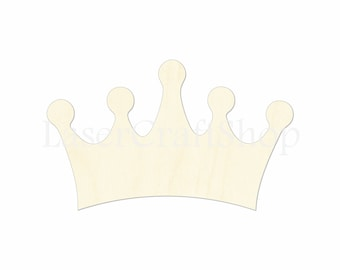 """2"""" - 34"""" Princess or Queen Crown Wooden Cutout Shape, Silhouette, Gift Tags Ornaments Laser Cut Birch Wood  #1159"""