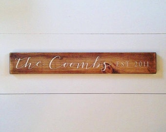 Family Name Sign, Est. Sign, Gallery Wall, Rustic, Farmhouse, Custom Sign