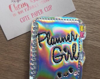 Silver Holographic Planner Girl Diary Paper Clip