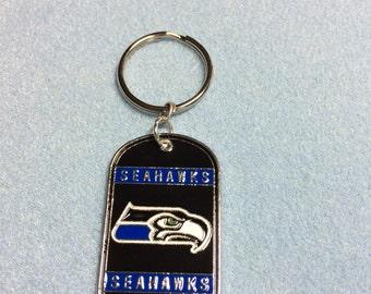 Seahawk Dog Tag Keychain