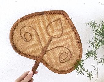 70s Woven Rattan Fan Wall Basket / Bohemian Decor / Jungalow style