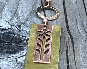 Copper pendant, copper necklace, copper jewelry, hammered copper and brass, mixed metal