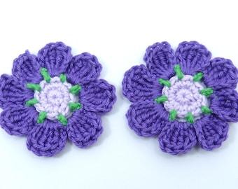 Crochet flowers, crochet applique, 2 purple applique flowers, cardmaking, scrapbooking, appliques, handmade, sew on patches embellishments