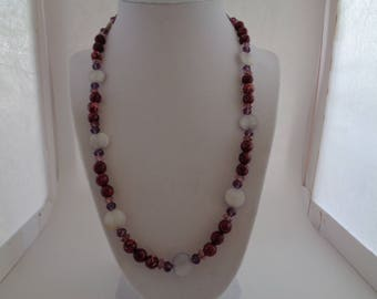Pink Stone, Purple Crystal & Shell Necklace