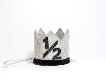 Half Birthday Boy Crown || Half Birthday Boy Birthday Hat || Half Birthday Party Hat || Heather Grey + Black