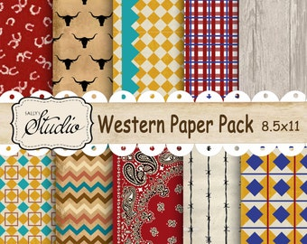 Western Paper Pack, Instant Digital Download, Custom Designed Papers Scrapbook, Cards, Printable Background paper, chevron, wood grain, red