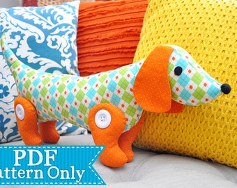 Sew-a-Long-Little-Doggy Dachshund PDF Pattern, Sewing Pattern, PDF Sewing Patterns, Handmade Gift Pattern, Instant Download, Softie Pattern