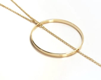 Circle Necklace / Lariat Necklace / Long Necklace / Statement Necklace / Y Necklace / Gift for Her / Gift for Friend / Gold Necklace