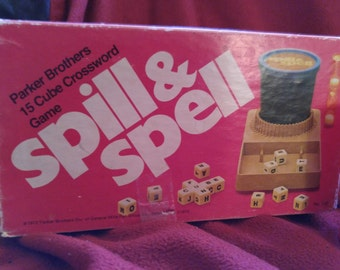 Spill & Spell 1972 Parker Bros. game, word game, family game