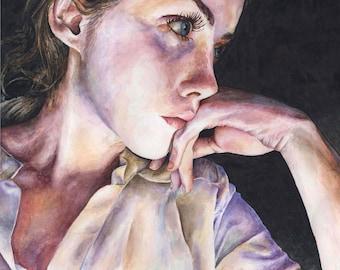 Art print, original watercolor painting, watercolor portrait, beautiful girl portrait, stylish portrait