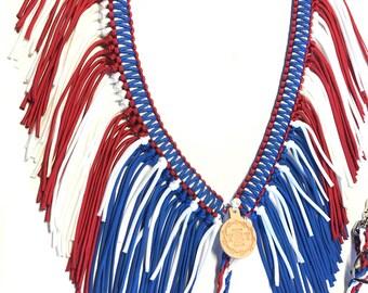 horse tack, Patriotic fringe breast collar,  red white and blue horse tack, breast collar, fringe breast collar, patriotic horse tack,