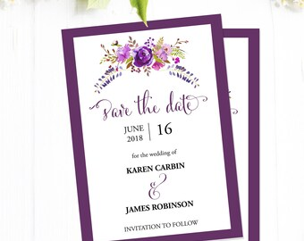 Save the Date Template, Purple Save the Date Printable Cards, Instant Download Editable PDF Wedding Template #MCS-01