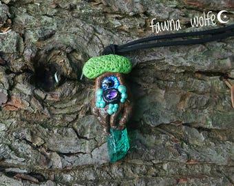 Spirit Tree Necklace, Spirit Tree Pendant, Handsculpted Clay Necklace Pendant, Polymer Clay Pendant, Polymer Clay Necklace, Crystal Necklace