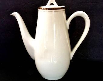 Vintage Royalton Fine Porcelain Teapot/Coffee Pot White w Gold, Japan Golden Elegance