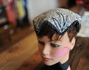 I Magnin Iridescent Sequin Hat