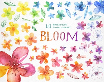 Bloom. 60 Watercolor handpainted multicolored floral Elements, flowers and leaves, wedding invitation, greetings card, diy clip art