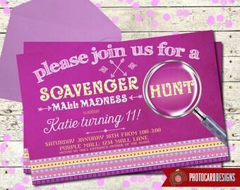 Mall invitation etsy quick view scavenger hunt birthday invitation filmwisefo