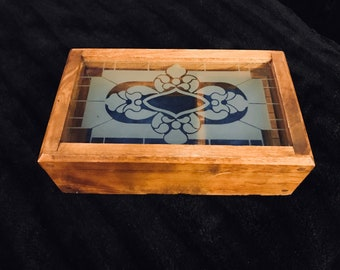 Vintage Wooden and Glass Jewelry Box/Trinket Box