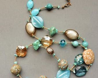 """Teal blue necklace, Extra long necklace, Long necklace, 35"""", teal, Teal and gold, Sea green, gold, Bohemian, Flapper, 1920's style, classy"""