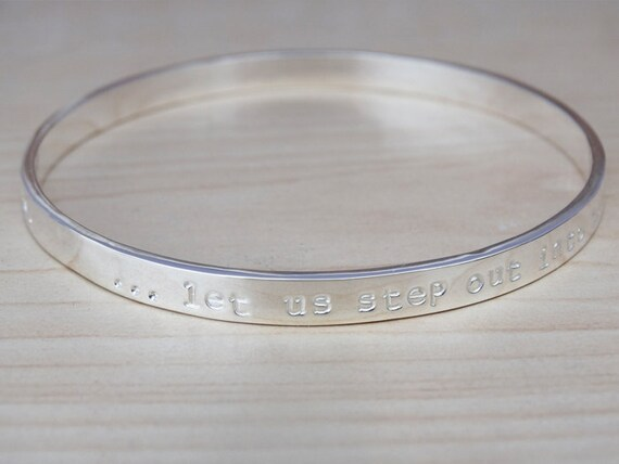 Silver Message Bangle, Sterling Silver, Personalised Bracelet