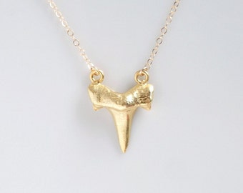Shark Tooth Pendant, Gold Layering Necklace, Primitive Organic Jewelry, Shark Tooth Necklace, Fossil Jewelry