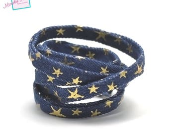 "1 m cord/thong jean ""gold 3d Star"" 10 x 2 mm, dark blue"