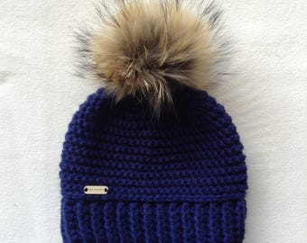 Hat crochet, very large fur Pom Pom, Navy Blue, ready to ship