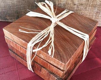 Coaster - Set of 4 - Mesquite Wood