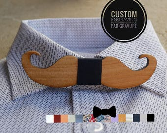 Mustach wood Bow Tie, natural wood personalized with engraving and ribbon,man gift